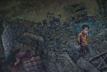 """Exhibition """"STEVE BAYLIS"""" / """"Vivemos em um mundo onde os momentos agradáveis são substituídos por tragédias em questão de segundos. A pintura do artista canadiano Steve Baylis questiona a forma como cada um de nós reage diante de uma tragédia vivenciada pessoalmente ou através da comunicação social"""""""