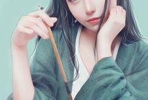Asian Girl Illustration Style