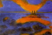 Emil Nolde / Emil Nolde (7 August 1867 – 13 April 1956) was a German Danish painter and printmaker. He was one of the first Expressionists, a member of Die Brücke, and is considered to be one of the great oil painting and watercolour painters of the 20th century. He is known for his vigorous brushwork and expressive choice of colors. Golden yellows and deep reds appear frequently in his work, giving a luminous quality to otherwise somber tones.