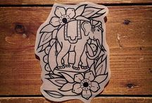 Elephant old school tattoo