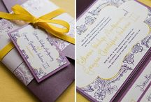 Love in Bloom / Eggplant and Lemon Colored Wedding Invitation Suite / by Abbey Malcolm Letterpress + Design