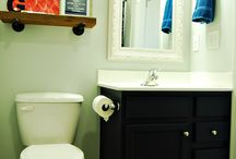 Townhouse Guest Bathroom Makeover / Tile, Paint, Mirrors and More!