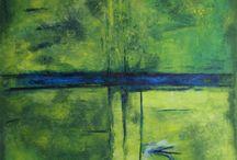Malerier 100x100cm / Et udpluk af mine mellemstore malerier fra galleri ceb.
