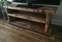 Floating wooden tv cabinet