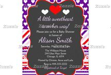 A Little Sweetheart Valentine's Purple Baby Shower / This collection features a red and white heart on a chalkboard frame. The background consists of white hearts on deep purple, red, pink and purple stripes with hearts and a stripe ribbon.