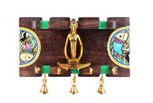 Wood crafted key ring holder with dhokra work