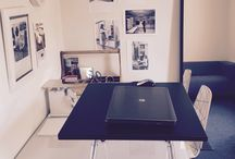 Standing Desks in Black and White Office / Standing Desks in Black and White Office