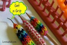 Loom hook grip, with loom bands