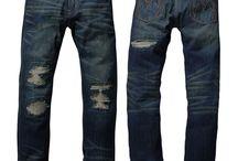 Ripped Tapered Denim Jeans for Men