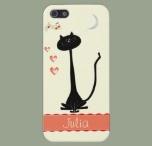 Cheerful black cat in love