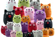 """Fat Cat Plush Toys  / These cute plush are available in 9"""", 5"""" and a 3"""" with keychain at dickekatze.com   These cats make great gifts for any cat lover..."""