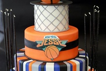 Bar Mitzvah - Basketball Theme / Classic, clean; navy, orange, and silver