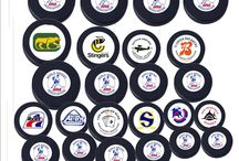Hockey Fun Pucks / Custom Fun Hockey Pucks from defunct hockey teams from the past. Check us out and we can also make fun pucks of your own team's logo.  Official Hockey Puck 6oz , Black or 4oz Blue Hockey puck available. Sticker logos.