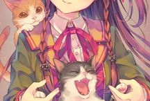 Girls and cats