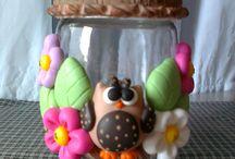 corujas em biscuit