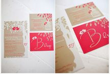 Coral and Tan Love Bird Wedding