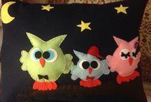 Felt owl family pillow... Baykuş ailesi keçe yastık / Keçe ürünlerim
