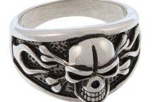 Biker Jewelry / Stainless Steel Skull Rings, Bracelets, and Pendants