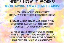 My SHOPHOPES favorites / best clothing out!