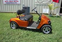 2010 Custom Ez Go  / 28 Volt, Candy paint with flames, low rider convertible