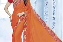 2609 Orange 2 Indian women attractive Sarees