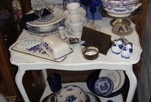 Brocante in blauw/wit
