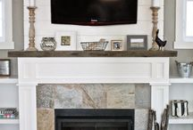 slate fireplace with mantle