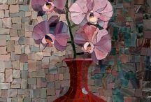 flores em mosaico