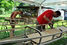 Kanu selber bauen im Kanubau Workshop / Nikola und ich geben in Berlin Kanubau Workshops, in denen ein jeder in 5 Tagen sein völlig individuelles Doppelpaddel Kanu mit der skin on frame Methode bauen kann www.urbanindian.org