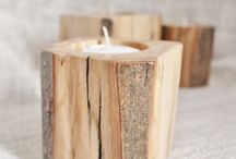 timber tea light candle holders