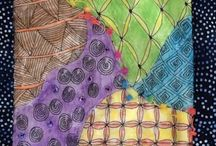 Zentangle on Mixed Media / Zentangle on fabric, paper, and more