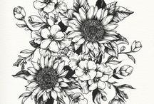 Flower Tatoo Black And White