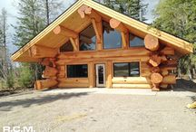 Rocky Mountain, Alberta Log Home - Finished Design / A cozy log home with big log features - Here's a finished project in Rocky Mountain, #Alberta. With stunning western red cedar flares at the base of the logs. #architect #drafting #loghomedesign #floorplans