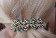micro macrame hair accessories / by handmadefuzzy
