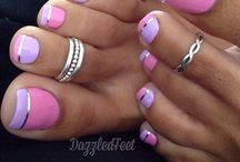 French Pedicure Purple And Pink