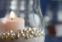 BFSamos Wedding / Glass jar, sand, pearls, candle