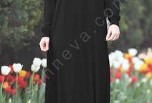 Düğmeli Bol Klasik Elbise / tesettür giyim, tesettür elbise, bol elbise