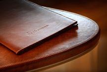 House of Eroju ( Leather folders ) Hotel menus. / Leather menus produced by the House of Eroju.