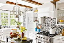 Decoración Cocina / Enchapes y pisos de cemento elegantes para decoraciones de cocina.
