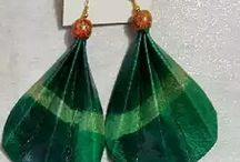 MINALA NYOBURE / HAND TIE DYE LEATHER EARRINGS MADE FROM GOAT LEATHER