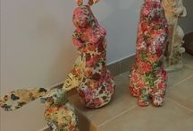 Paper mache Rabit made with plastic bottles