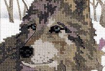 Wolfs / Cross stitch and templete