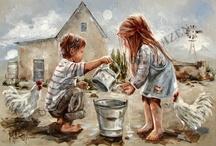 Decoupage gyerekek és állatok