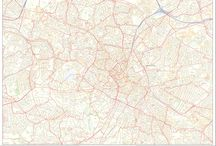 Street Maps / A collection of highly detailed and beautiful street wall maps for cities across Great Britain