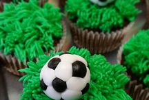 Soccer cakes and food