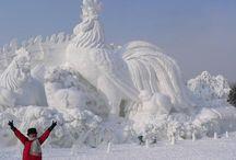 Sneeuw en ijssculpturen