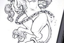 Единорог татуировки
