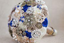 Royal blue/rose gold wedding