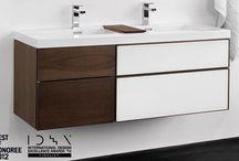 My master bathroom / White/glass vanity