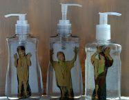 Kids in liquid soap bottel